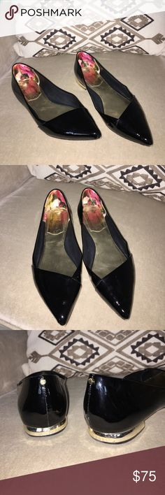 Ted Baker London Pasces Flats ❤️ Beautiful patent leather flats with gold heels! Fun to wear for anything! Excellent condition! All details in last pic! z#0515 Ted Baker London Shoes Flats & Loafers