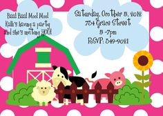 Farm Party Farm Party Invitation Girl Farm by ChurchHillCharm, $15.00