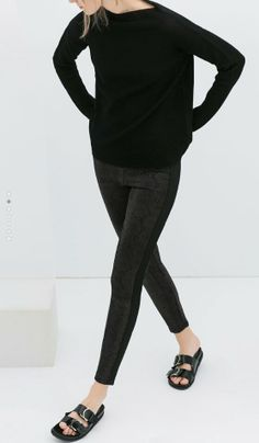 Zara all black skinny with birks sandals