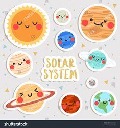 Solar System Art, Solar System Poster, Solar System Tattoo, Solar System Projects, Printable Crafts, Printable Stickers, Cute Stickers, Printables, Arte Do Sistema Solar