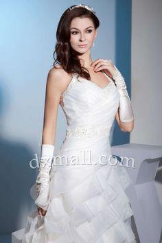 Drop Waist Wedding Dresses Halter Chapel Train Taffeta Satin Ivory 010010701832