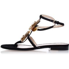 Dsquared2 Leather Jewel Sandals (470 CAD) ❤ liked on Polyvore featuring shoes, sandals, black, real leather shoes, black leather shoes, leather sole shoes, black leather sandals and jeweled shoes