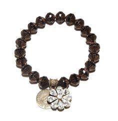 Great Gatsby Love Cures Bracelet -- Antique Czech Black Deco Beads with Swarovski Crystal Flower Charm create this Love Cures Stretch Bracelet. -- $65.00