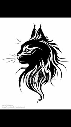 Sitting Cat Tribal Tatoo III by AndreasAvester on DeviantArt Wolf Tattoos, Tribal Tattoos, Cat Tattoos, Arte Tribal, Tribal Art, Tribal Wolf, Cat Profile, Profile Drawing, Wolf Silhouette