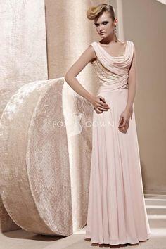 Bescheidenen Mantel Rosa Cowl Neck langen Abendkleid mit Friesen-Mieder $389 Abendkleider
