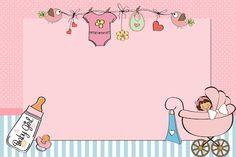 Chá de Bebê ou Chá de Fraldas Menina - Kit Completo com molduras para convites, rótulos para guloseimas, lembrancinhas e imagens!