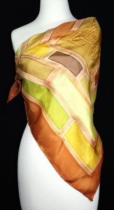 Hand Painted Silk Scarf. Terracotta Olive by SilkScarvesColorado