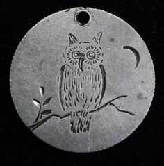 Love Token Engraved HD DH Owl Design on Dime Size Planchet Silver | eBay