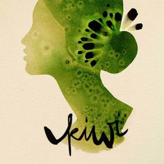 kiwi // Les Fruits illustrations by Ekaterina Koroleva Fashion Illustration Face, Fruit Illustration, Watercolor Illustration, Graphic Illustration, Fashion Illustrations, Watercolor Artwork, Watercolor Portraits, Kiwi, Fruit Picture
