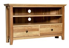 The Hereford Rustic Oak Corner TV Unit features one shelf at the top which creates two useful spaces for a DVD player or Sky Box. The shelf is adjustable and the unit also has two drawers below with integrated runners as well as dovetailed joints ensur Wooden Living Room Furniture, Tv Furniture, Selling Furniture, Oak Corner Tv Unit, Corner Tv Stands, Entertainment Wall Units, Living Room Wall Units, Tv Cabinets, Hereford