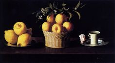 Still-life with Lemons, Oranges and Rose by Francisco de Zurbaran, 1633