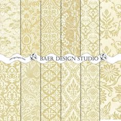 GOLD BAROQUE Digital Paper  Brass Instant by BaerDesignStudio, $4.99