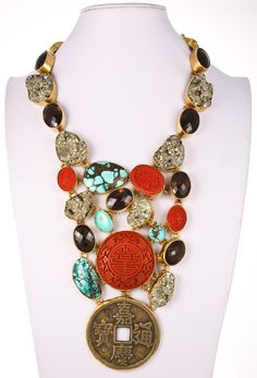Style# ALN07: Pyrite, Smokey Quartz, Cinnabar, Turquoise & Chinese Coin Necklace by Charles Albert. Retail $ 1,499.