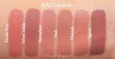 Make up MAC Velvet Teddy Spirit Lippenstift Dupe Vergleichsmuster I Want Hot Water and I Want It Now Makeup Swatches, Makeup Dupes, Skin Makeup, Makeup Products, Beauty Products, Mac Kinda Sexy, Lipgloss, Mac Lipsticks, Mac Matte Lipstick
