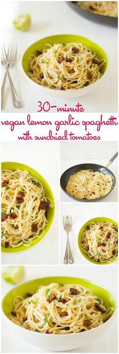 30-Minute Vegan Lemon Garlic Spaghetti with Sundried Tomatoes #vegan #sundriedtomatoes #30minutemeals #meatless