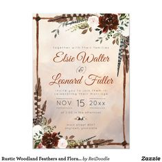 Shop Rustic Woodland Feathers and Floral Bloom Invitation created by ReiDoodle. Personalize it with photos & text or purchase as is! Zazzle Invitations, Bridal Shower Invitations, Party Invitations, Botanical Wedding Theme, Wooden Feather, Beige Wedding, Burgundy Wedding Invitations, Burgundy Flowers, Hand Painted Canvas