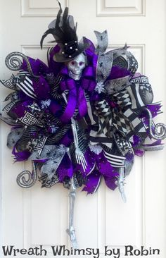 XL Halloween Skeleton Deco Mesh Wreath in Purple, Grey & Black, Front Door Wreath, Fall Wreath, Victorian Skeleton,  Halloween Decor by WreathWhimsybyRobin on Etsy https://www.etsy.com/listing/481729729/xl-halloween-skeleton-deco-mesh-wreath