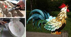 Veľkonočná dekorácia - kohút z obalu na vajíčka, ktorý je zároveň košíkom na kraslice. Kreatívny DIY nápad a návod na veľkonočnú dekoráciu, Veľká Noc, upcyklácia kartónov od vajec, recyklácia, odpad, neopozeraný nápad
