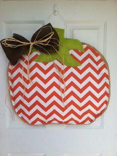Very Large Custom Orange chevron Pumpkin Burlap Door  hanger by AmberlynsDoorDecor on Etsy