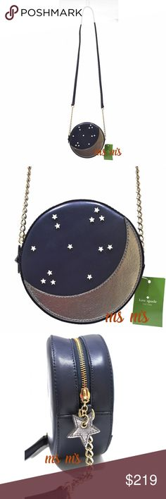 """NWT Kate Spade Limited edition crossbody the handbag: it's your constant companion, your security blanket, your way-more-than-an-accessory accessory.  •SIZE Approx: 6.2""""h x 6.2""""w x 2.5""""d  •Adjustable crossbody strap: 22''  •MATERIAL  •smooth leather with metallic mitas trim  •capital kate jacquard lining  •14-karat light gold plated hardware  •DETAILS  •crossbody with zip top closure  •COLOR: Off Shore ( Navy Blue ) kate spade Bags Crossbody Bags"""