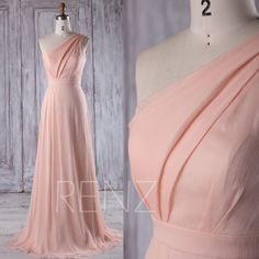 2016 Peach Chiffon Bridesmaid Dress, One Shoulder Wedding Dress, A Line Prom Dress, Ruched Bodice Evening Gown Floor Length (L227) by RenzRags on Etsy https://www.etsy.com/listing/482059100/2016-peach-chiffon-bridesmaid-dress-one