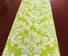 Green and white table runner made with Premier Prints Traditions fabric. Features a traditional damask pattern of chartreuse green and