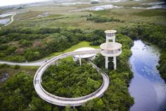 The observation tower in Shark Valley at Everglades National Park.