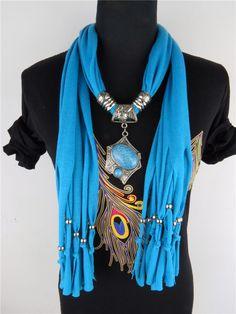 Women Neck Warmer Beads Jewery Necklace Scarf Shawls www.jewelryscarfcanada.com