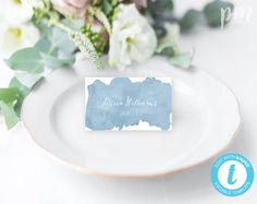 Dusty Blue Place Card Template for Wedding, Self Edit Watercolor Place Cards, Printable Place Cards, Tent Fold Place Cards, Blue Wedding Printable Place Cards, Place Card Template, Wedding Place Cards, Wedding Table, Garden Wedding, Wedding Stuff, Wedding Flowers, Dusty Blue Weddings, Watercolor Wedding