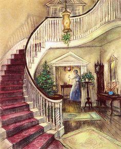 Lighting the Christmas lamps.