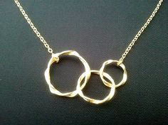 Eternity love Triple Gold Circle Necklace