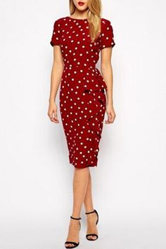 Polka Dot Back Slit Short Sleeves Pencil Dress