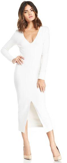 nice DAILYLOOK Long Sleeve Bodycon Midi Dress in white S - L  Fashion