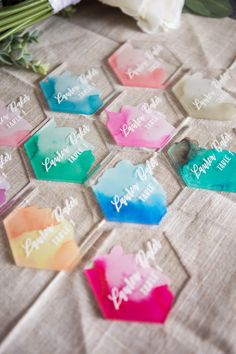 Resin Crafts Discover Place Cards Watercolor Calligraphy Place Cards Escort Cards for Wedding or Party Table Decorations Name Signs Clear or Wood (Item - Diy Resin Art, Diy Resin Crafts, Diy And Crafts, Wedding Places, Wedding Place Cards, Party Table Decorations, Wedding Decorations, Glitter Table Numbers, Custom Cake Toppers