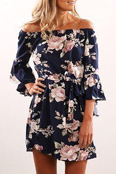 6c234275388c6e Walant Damen Sexy Schulterfrei Blumen Kleid Sommer Rock Kurze Kleider  Sommerkleid: - Sommer Hosen Trends