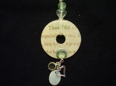Thankful reversible washer pendant necklace with especially for you and family  script/ light green floral on back