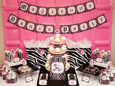 Zebra party - I think those are just pink plates taped to the wall!