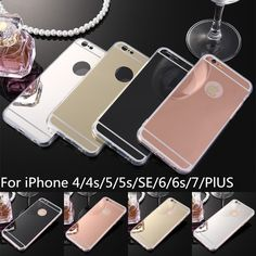Luxury Soft TPU Case For iPhone 7 6 6s Plus SE 5s 5 4s 4 Mobile Phone Bags Case Mirror Plating PC Back Coque Cover Fundas * Details on product can be viewed by clicking the image