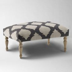 Turned-Leg Dhurrie Ottoman - perfect for the living room Modern Bedroom Furniture, Furniture Sale, Contemporary Furniture, Living Room Furniture, Furniture Ideas, Living Room Seating, My Living Room, West Elm Bedroom, Apartment Must Haves