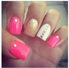Gold Pink and White Studded Nails.