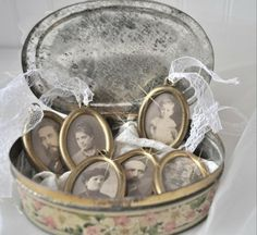 Love the idea of framing small black and white pictures of family members from years ago.  Display in a vintage container.