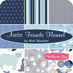 Arctic Friends Flannel Fat Quarter Bundle Mint Blossom for Northcott Fabrics - Fat Quarter Shop