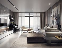 The Appeal of Loft Living Rooms Which Creates Freedom and Creativity - homesuka Home Room Design, Interior Design Living Room, Living Room Designs, Living Room Decor, Room Interior, Living Rooms, Morden Living Room, Minimalist Living Room Furniture, Plafond Design