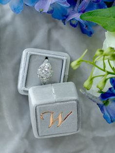 Grey small velvet ring with separate lid made from limited edition velvet.