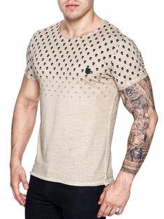 K&D Men Top Skulls Dyed T-shirt - Beige - FASH STOP