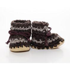 Padraig Baby Slippers - Chocolate with Grey Stripe