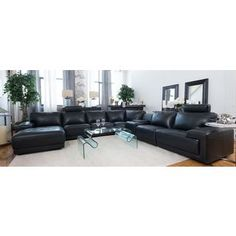 Elements Fine Home Cinema Top Grain Leather Large Left Arm Facing Chaise Sectional with Console Storage Table in Black - Console Storage, Table Storage, Sectional Furniture, Sectional Sofa, Large Sectional, Leather Sectional, Home Furnishings, Cinema, Interior