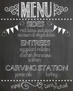 Chalkboard Wedding Menu by parrjosh on Etsy, $20.00   Vow Renewal ...