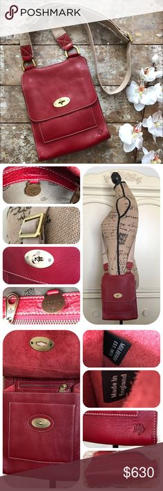Mulberry Red Leather Authentic Crossbody Bag NWOT Beautiful travel authentic Mulberry red leather cross body bag in excellent, like new condition. Adjustable nylon shoulder strap, white top stitching, antiqued gold-tone metal hardware, raw soft hide interior, logo-engraved metal keyhole w/ turning secure fastening. Open to reveal external slip pocket & main internal compartment w/ zip pocket. No tags/dust bag, never been used, in storage & want to pass along. Strap hardware has few tiny…