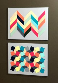 Wood Chevron and Mosaic Art Canvas created by Sarah Owens for #CraftWarehouse
